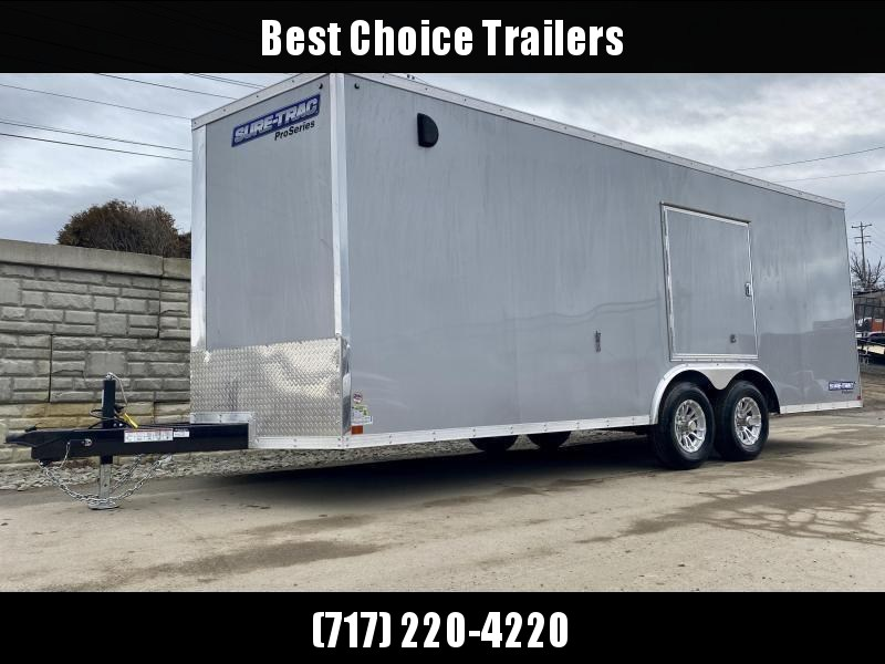 "2020 Sure-Trac 8.5x20' Deluxe Pro Series Enclosed Car Hauler Trailer 9900# GVW * SILVER EXTERIOR * V-NOSE * RAMP * 5200# TORSION AXLES * NUDO FLOOR & RAMP * VINYL WALLS * ESCAPE HATCH * .030 SCREWLESS EXTERIOR * ALUMINUM WHEELS * 1 PC ROOF * 48"" RV DOOR"