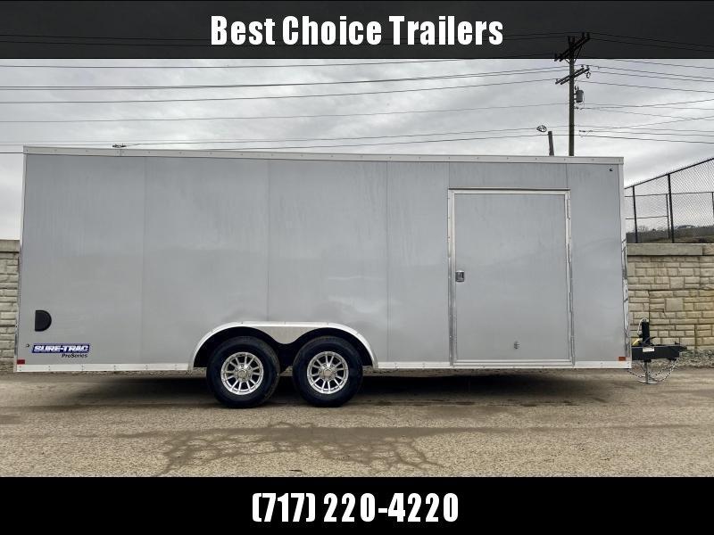 "2020 Sure-Trac 8.5x20' Deluxe Pro Series Enclosed Car Hauler Trailer 9900# GVW * SILVER EXTERIOR * V-NOSE * RAMP * 5200# TORSION AXLES * NUDO FLOOR & RAMP * VINYL WALLS * ESCAPE HATCH * .030 SCREWLESS EXTERIOR * ALUMINUM WHEELS * 1 PC ROOF * 48"" RV DOOR"
