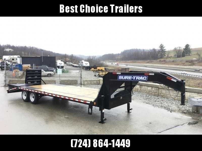 "2019 Sure-Trac 102x25' Gooseneck Beavertail Deckover Trailer 17600# GVW * 8000# AXLES * 17.5"" 16-PLY TIRES * 3 3/8"" BRAKES * DUAL JACKS * FULL TOOLBOX * FULL WIDTH RAMPS (STAND UP OR FLIPOVER) * 12"" PIERCED I-BEAM * (10) 1"" D-RINGS * CROSS TRAC * CLEARANC"