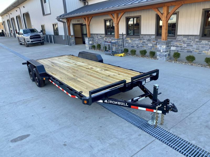 "2021 Ironbull 7x18' Wood Deck Car Hauler Trailer 9990# GVW * OVERWIDTH RAMPS * 16"" O.C. FLOOR * CHANNEL C/M * RUBRAIL/STAKE POCKETS/PIPE SPOOLS/D-RINGS"