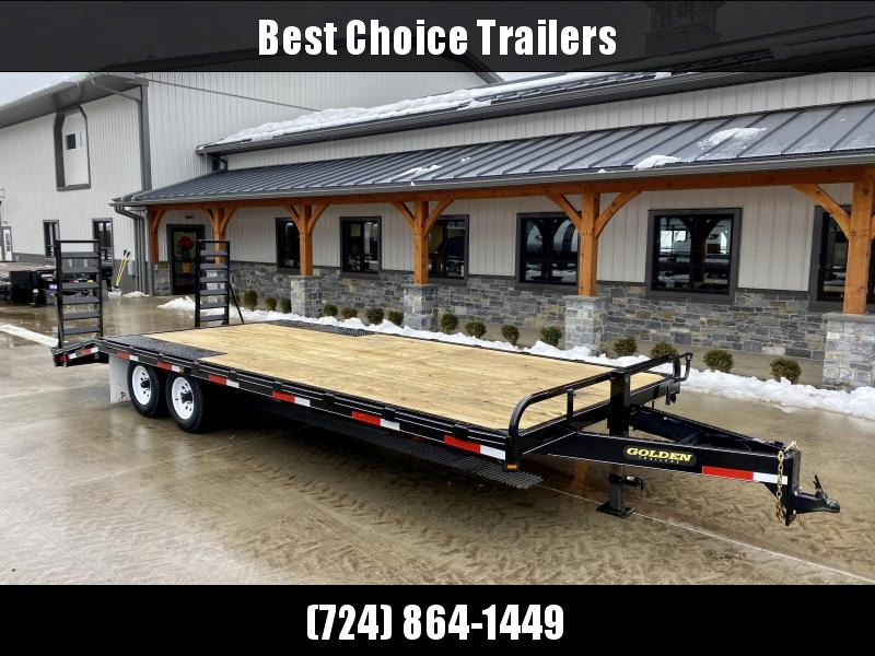 2021 Golden102x22 Beavertail Deckover Trailer 9990# GVW * STAND UP RAMPS + SPRING ASSIST * RUBRAIL/STAKE POCKETS * SPARE TIRE MOUNT * ADJUSTABLE HD COUPLER * DROP LEG JACK * MUDFLAPS * CHAIN TRAY
