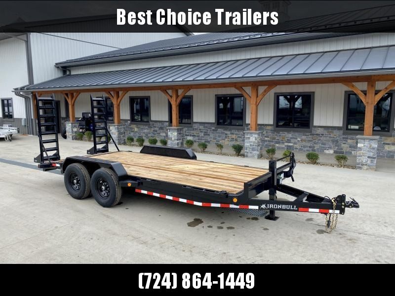 """2022 Ironbull 7x18' Equipment Trailer 14000# GVW * KNIFEEDGE RAMP W/ ADJUSTABLE SUPPORT * REMOVABLE FENDERS * 16"""" O.C. STRUCTURAL CHANNEL C/M * RUBRAIL/STAKE POCKETS/PIPE SPOOLS/D-RINGS * ADJUSTABLE CAST COUPLER * 12K JACK * DEXTER'S * CLEARANCE"""