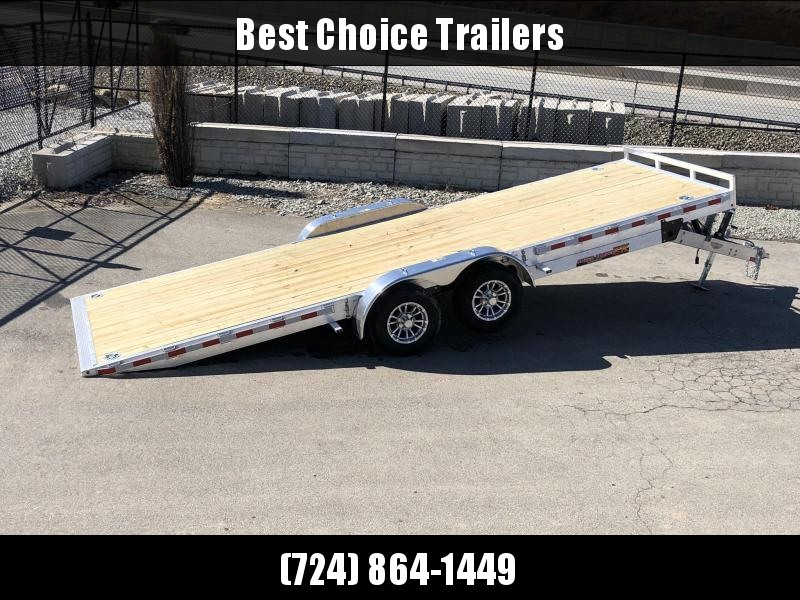 "2021 H&H 7x22' Aluminum Power Tilt Car Hauler Trailer 9990# GVW * POWER TILT * TORSION * 4 SWIVEL D-RINGS * 4 EXTRA STAKE POCKETS * ALUMINUM TOOLBOX * 8"" CHANNEL FRAME * REMOVABLE FENDERS * ALUMINUM WHEELS * DROP JACK * INTEGRATED TAIL LIGHTS"