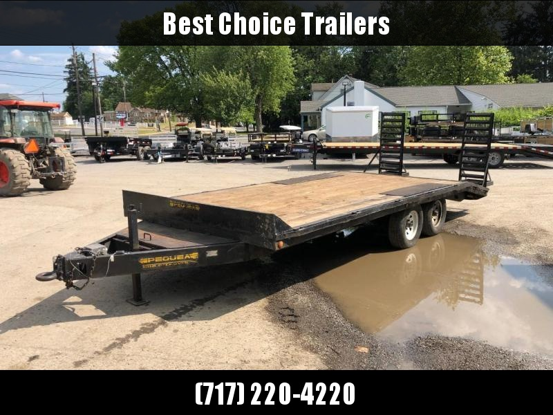 USED Pequea 102x20' Beavertail Deckover Flatbed Trailer * 6000# AXLES * TOOLBOX * 12K JACK * ADJUSTABLE COUPLER * STAND UP RAMPS