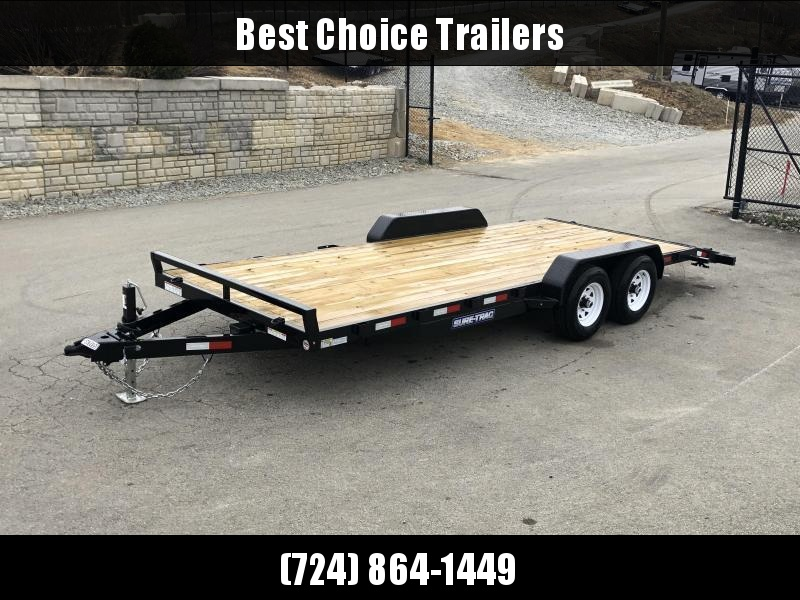 2021 Sure-Trac 7x22' Wood Deck Car Hauler 9900# GVW * REAR SLIDE OUT PUNCH PLATE FINGERJOINTED RAMPS * DIAMOND PLATE FENDERS * SEALED WIRING HARNESS * SET BACK JACK * STAKE POCKETS/D-RINGS * DIAMOND PLATE DOVETAIL