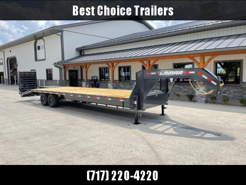 "2021 Lamar Trailers 102x25' HD Gooseneck Deckover Trailer 14000# GVW * 12"" I-BEAM * FULL WIDTH RAMPS * FRONT TOOLBOX * DUAL JACKS * CHARCOAL"