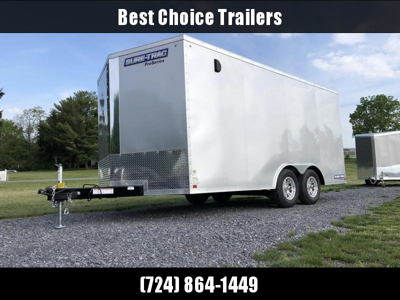 2020 Sure-Trac 8.5x16' Enclosed Cargo Trailer 7000# GVW * SILVER * PRO SERIES * SCREWLESS * 1 PIECE ALUMINUM ROOF * PLYWOOD * TUBE STUDS * ALUMINUM WHEELS
