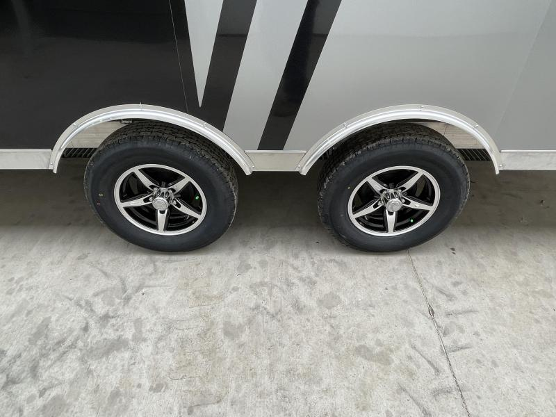 2021 NEO 8.5x20' NMS Aluminum Enclosed All Sport Car Hauler Trailer 7000# GVW * BLACK & SILVER 2-TONE W/ JD SLASH * FRONT RAMP * FINISHED WALLS * ALUMINUM WHEELS * ROUND TOP * 7' UTV HEIGHT