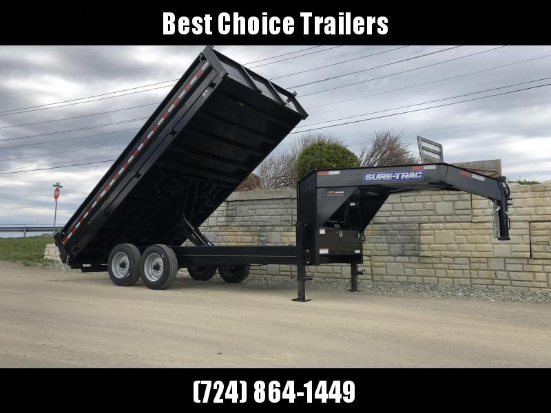 2021 Sure-Trac 8x16' HD Gooseneck Deckover Dump Trailer 16000# GVW * DELUXE TARP KIT * 8000# AXLE UPGRADE * FOLD DOWN SIDES