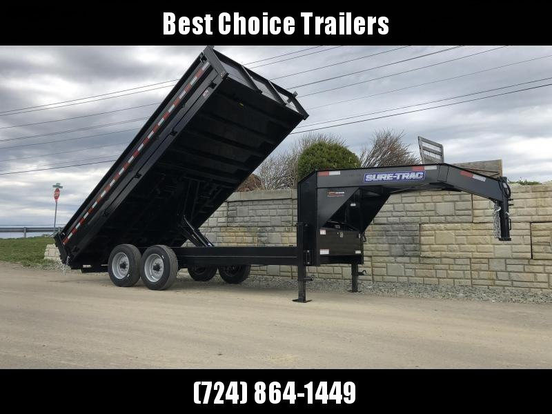 2021 Sure-Trac 8x16' HD Gooseneck Deckover Dump Trailer 16000# GVW * DELUXE TARP KIT * 8000# AXLE UPGRADE * FOLD DOWN SIDES