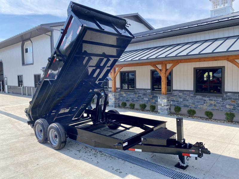 "2021 H&H 7x16' Low Profile Dump Trailer 16000# GVW * 8000# AXLES * 17.5"" TIRES * 7GA FLOOR UPGRADE * HYDRAULIC JACK * 4"" RAMPS * DELUXE TARP WITH SHROUD * 8"" FRAME * SCISSOR HOIST * COMBO GATE"