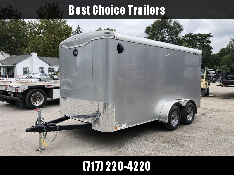 """2021 Wells Cargo 7x14' Road Force Enclosed Cargo Trailer 7000# GVW * SILVER EXTERIOR * RAMP DOOR * ROUND TOP * SCREWLESS .030 EXTERIOR * 6'6"""" HEIGHT * TUBE STUDS * 1 PC ROOF * 16"""" O.C. WALLS/FLOOR * RV DOOR * ARMOR GUARD * BULLET LED'S * CLEARANCE"""