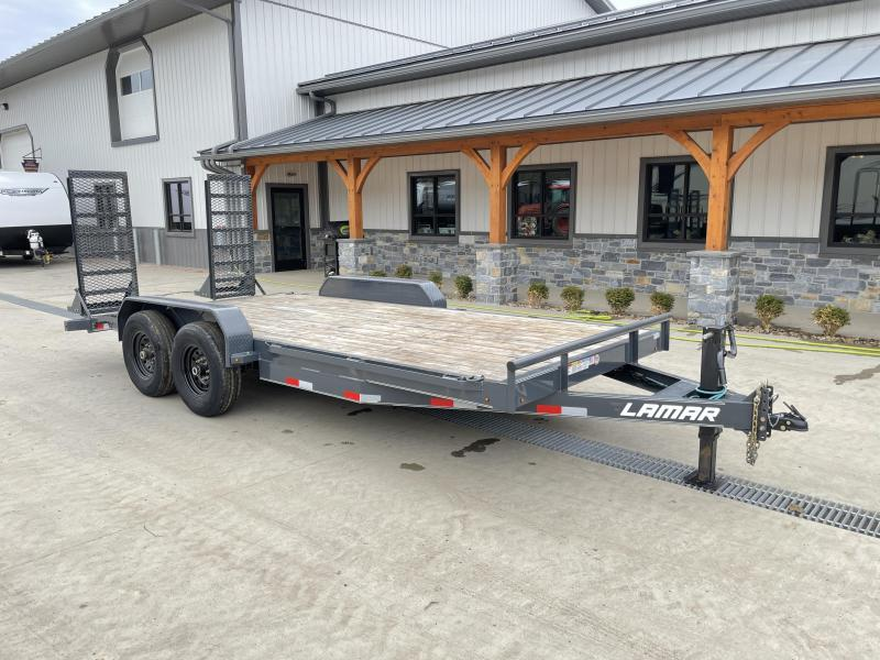 USED 2020 Lamar 7x18' Equipment Trailer 14000# GVW * DELUXE STAND UP SPRING ASSISTED RAMPS * CHARCOAL POWDERCOAT * RUBRAIL/STAKE POCKETS/PIPE SPOOLS/D-RINGS * REM FENDERS * 12K JACK * CAST COUPLER * COLD WEATHER HARNESS * DIA PLATE DOVETAIL