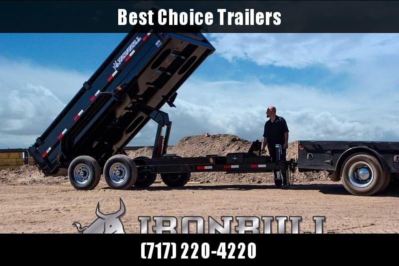 "2021 Ironbull 7x14' Dump Trailer 14000# GVW * HYDRAULIC JACK * TARP KIT * SCISSOR HOIST * STACKED I-BEAM FRAME * 6"" TUBE BEDFRAME * 2PC 10GA BED & WALLS W/ KEYWAY * COMBO GATE * UNDERBODY BED RUNNERS * DEXTER AXLES * 2-3-2 WARRANTY"