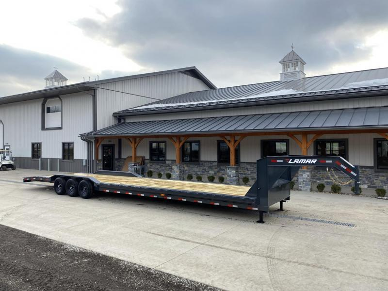 "2021 Lamar 102x40' Gooseneck Car Hauler Trailer 21000# GVW * 102"" DECK * DRIVE OVER FENDERS * OVERLENGTH 7' SLIDE IN RAMPS * 4' DOVETAIL * RUBRAIL * SWIVEL JACKS * UNDER FRAME BRIDGE * DUAL JACKS * FULL TOOLBOX * CHARCOAL W/ BLACK WHEELS"