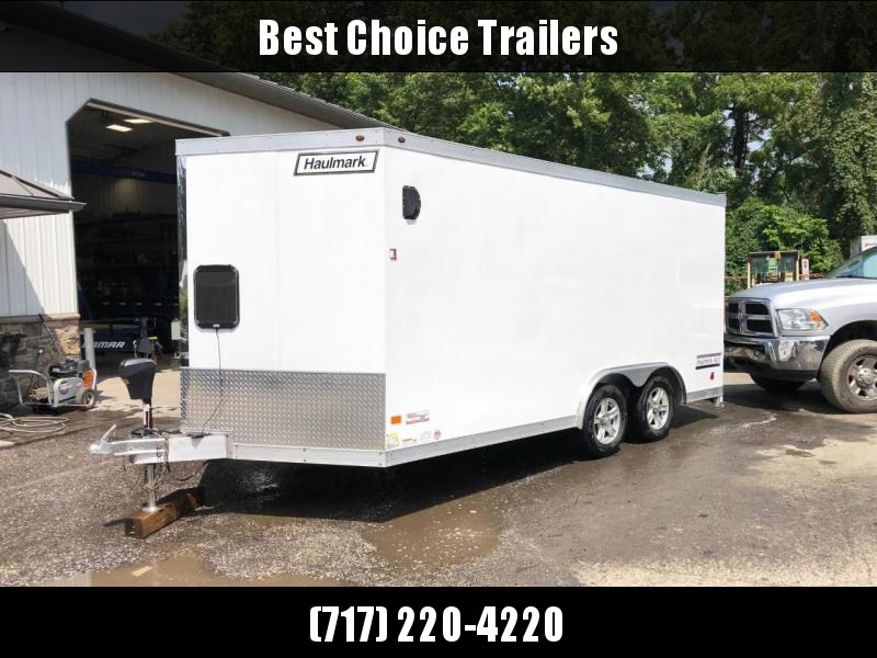 USED 2017 Haulmark 8.5x16' Enclosed Car Hauler Trailer * TORSION * ALUMINUM WHEELS * 1 PIECE ROOF * SCREWLESS EXTERIOR * POWER JACK * REAR STABILIZER JACKS * TUBE STUDS