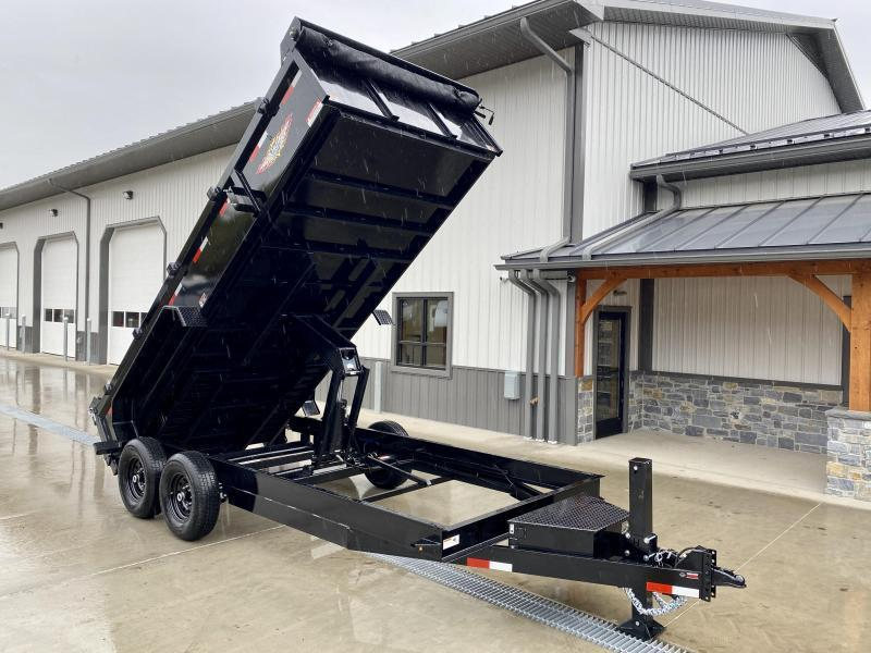 "2021 H&H 7x12' Low Profile Dump Trailer 14000# GVW * 7GA FLOOR UPGRADE * HYDRAULIC JACK * 4"" RAMPS * DELUXE TARP WITH SHROUD * 8"" FRAME * SCISSOR HOIST * COMBO GATE"
