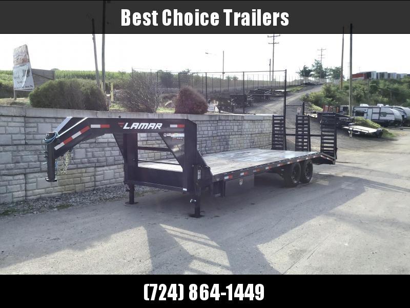 "NEW Lamar 102x24' Gooseneck Beavertail Deckover Trailer 14000# GVW * 3 FLIPOVER RAMPS+SPRING ASSIST * FULL TOOLBOX * DUAL JACKS * CHARCOAL * I-BEAM FRAME * 16"" O.C. C/M * RUBRAIL/STAKE POCKETS/PIPE SPOOLS * CHANNEL SIDE RAIL * 4X8"" TUBE BUMPER * CLEARANCE"