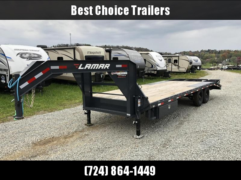 "NEW Lamar 102x24' Gooseneck Beavertail Deckover Trailer 14000# GVW * 3 FLIPOVER RAMPS+SPRING ASSIST * FULL TOOLBOX * DUAL JACKS * CHARCOAL * I-BEAM FRAME * 16"" O.C. C/M * RUBRAIL/STAKE POCKETS/PIPE SPOOLS * CHANNEL SIDE RAIL * 4X8"" TUBE BUMPER * CLEARANCE"