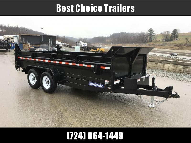 """2021 Sure-Trac 7x16' Dump Trailer 14000# GVW * DELUXE TARP KIT * HYDRAULIC JACK * 7-GAUGE FLOOR * OVERSIZE 4X42"""" DUAL PISTON * FRONT/REAR BULKHEAD * INTEGRATED KEYWAY * 2' SIDES * UNDERBODY TOOL TRAY * ADJUSTABLE COUPLER * 110V CHARGER * UNDERMOUNT RAMPS"""