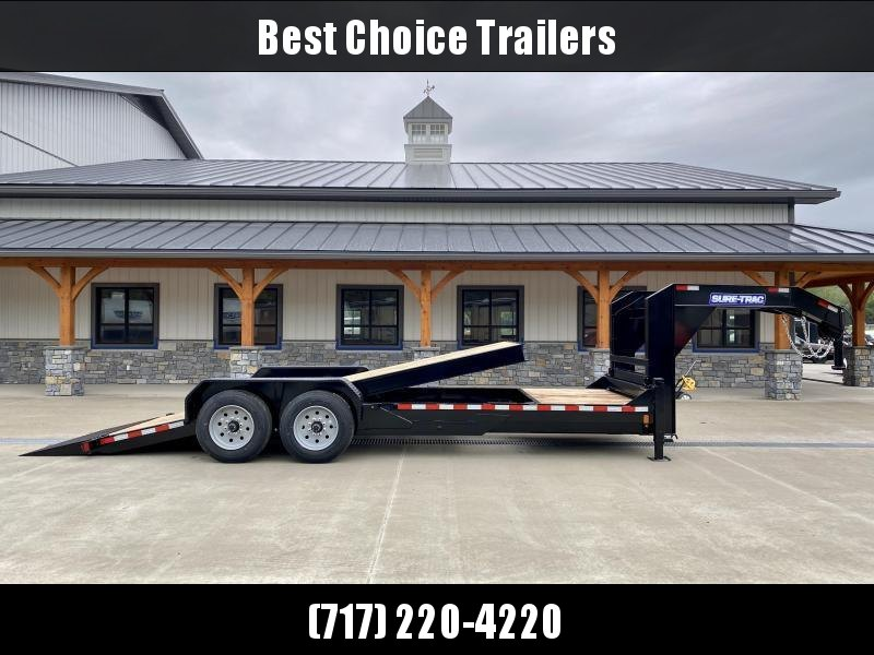 "2021 Sure-Trac 7x18+4' Gooseneck Power Tilt Equipment Trailer 16000# GVW * 8K AXLE UPGRADE * SPLIT DECK POWER TILT * TOOLBOX * D-RINGS/RUBRAIL/STAKE POCKETS * OAK DECKING * 17.5"" RUBBER"