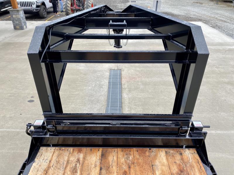"""2021 Sure-Trac 7x18+4' Gooseneck Power Tilt Equipment Trailer 16000# GVW * 8K AXLE UPGRADE * SPLIT DECK POWER TILT * TOOLBOX * D-RINGS/RUBRAIL/STAKE POCKETS * OAK DECKING * 17.5"""" RUBBER"""