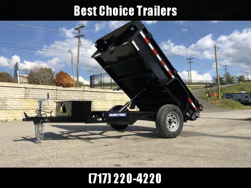 2021 Sure-Trac 5x8' Single Axle Dump Trailer 5000# GVW * BARN DOORS * INTEGRATED KEYWAY * SPARE TIRE MOUNT * TARP PREP * D-RINGS * DIAMOND PLATE FENDERS * POWER UP/POWER DOWN * TRIPLE TUBE TONGUE * BULLET LED'S * RADIALS * POWDERCOATED * SEALED HARNESS