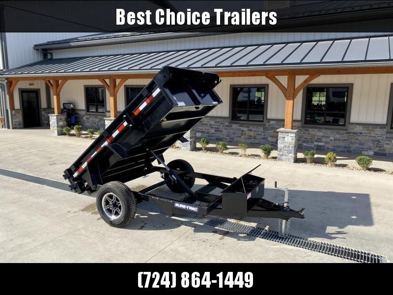 2021 Sure-Trac 5x8' Single Axle Dump Trailer 5000# GVW * BARN DOORS * INTEGRATED KEYWAY * SPARE TIRE MOUNT * TARP PREP * D-RINGS * DIAMOND PLATE FENDERS * POWER UP/POWER DOWN * TRIPLE TUBE TONGUE * BULLET LED'S * RADIALS * POWDERCOATED * SEALED HARNESS *