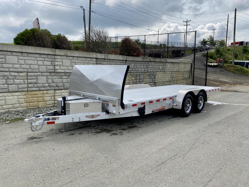 2021 H&H 7x22' Deluxe Aluminum Power Tilt Car Hauler Trailer 14000# GVW * TORSION AXLES * ROCK GUARD * EXTRUDED FLOOR * SWIVEL D-RINGS * EXTRA STAKE POCKETS * DUAL TOOLBOXES * WINCH PLATE * WIRELESS * HD 8