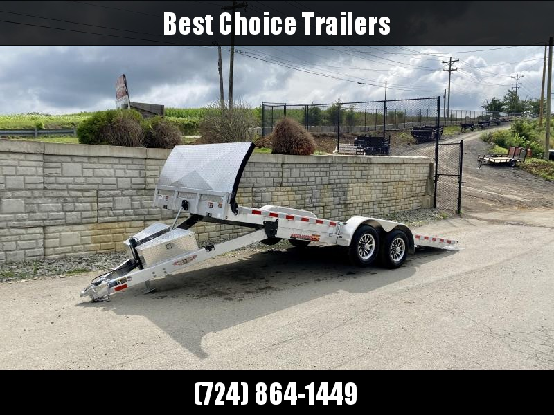 2022 H&H 7x22' Deluxe Aluminum Power Tilt Car Hauler Trailer 14000# GVW * TORSION AXLES * ROCK GUARD * EXTRUDED FLOOR * SWIVEL D-RINGS * EXTRA STAKE POCKETS * DUAL TOOLBOXES * WINCH PLATE * WIRELESS * HD 8