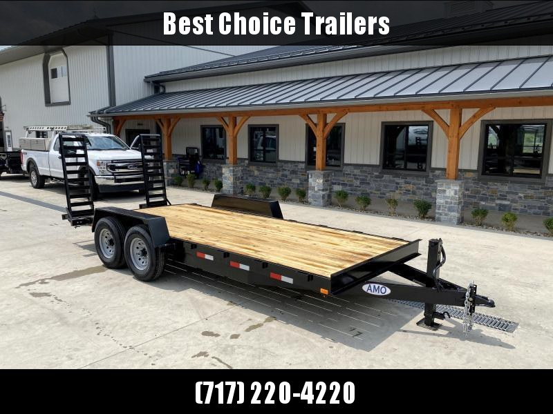 """2021 AMO 7x18' Equipment Trailer 12000# GVW * ALL LED LIGHTS * STAND UP RAMPS * BEAVERTAIL * STACKED 6"""" CHANNEL TONGUE/FRAME * 12K DROP LEG JACK * REMOVABLE FENDERS"""