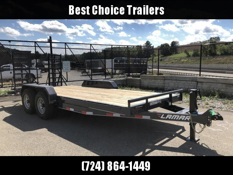 2021 Lamar 7x16' Equipment Trailer 14000# GVW * DELUXE OVERWIDTH RAMPS W/ HEAVY MESH * CHARCOAL POWDERCOAT * RUBRAIL/STAKE POCKETS/PIPE SPOOLS/D-RINGS * REM FENDERS * 12K JACK * CAST COUPLER * SPRING ASSIST * COLD WEATHER HARNESS * DIA PLATE DOVETAIL