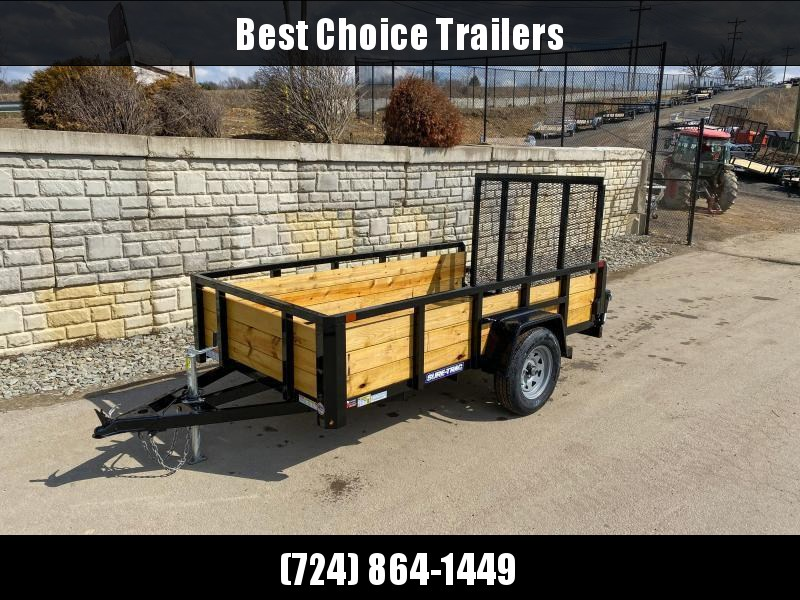 """2021 Sure-Trac 5x10' High Side Utility Landscape Trailer 2990# GVW * 24"""" 3-BOARD HIGH SIDE * 2"""" TUBE TOP RAIL * 2X2"""" TUBE GATE C/M + SPRING ASSIST + FOLD FLAT * TOOLESS GATE REMOVAL * SPARE MOUNT * PROTECTED WIRING * SET BACK JACK * TRIPLE TUBE TONGUE * D"""