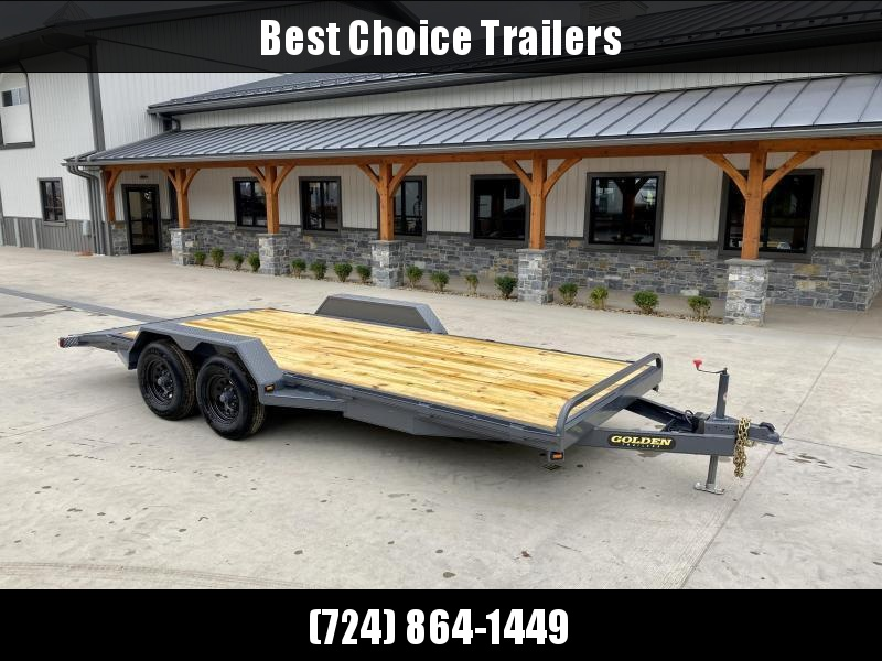 """2022 Corn Pro 7x20' Wood Deck Car Hauler 9900# GVW * REAR SLIDE OUT RAMPS * DIAMOND PLATE FENDERS * RUNNING BOARDS * RUBRAIL/STAKE POCKETS/CHAIN SPOOLS * DEMCO EZ LATCH COUPLER * CHAIN TRAY * DIAMOND PLATE DOVETAIL * URETHANE PAINT * 16"""" O.C. C/M"""