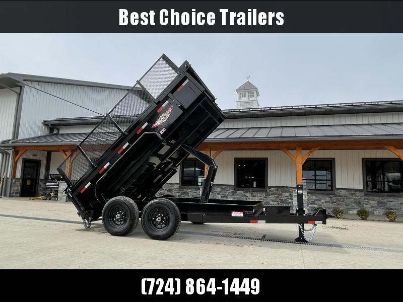 "2021 H&H 7x12' Low Profile High Side Dump Trailer 14000# GVW * 4' HIGH SIDES * 7GA FLOOR UPGRADE * HYDRAULIC JACK * 4"" RAMPS * DELUXE TARP WITH SHROUD * 8"" FRAME * SCISSOR HOIST * COMBO GATE"