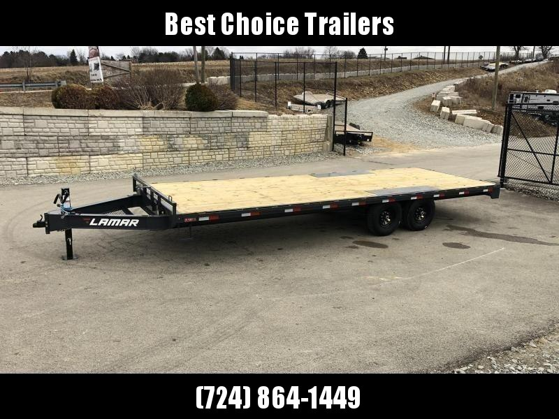 """2022 Lamar 102x24' Flatbed Deckover Trailer 14000# GVW * 8' SLIDE IN RAMPS * CHARCOAL * TOOL TRAY * HD CAST COUPLER * I-BEAM FRAME * 16"""" O.C. C/M * RUBRAIL/STAKE POCKETS/PIPE SPOOLS * CHANNEL SIDE RAIL * 12K JACK"""