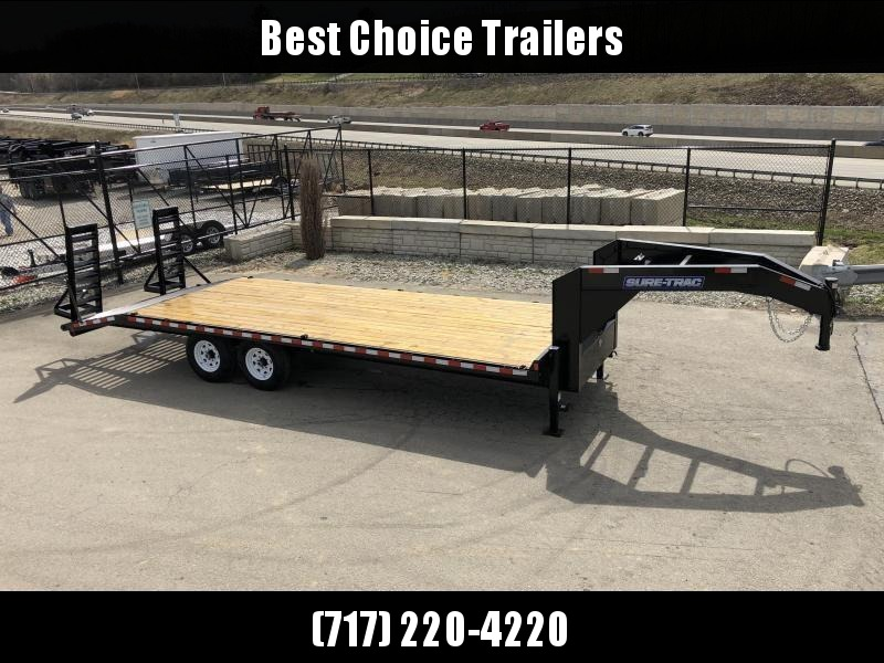 "2019 Sure-Trac 102x24 Gooseneck Beavertail Deckover Trailer 15000# GVW * FULL TOOLBOX * DUAL 12K JACKS * HD 4"" CHANNEL STAND UP RAMPS + SPRING ASSIST * 10"" I-BEAM MAINFRAME * CHANNEL SIDE RAIL * RUBRAIL/STAKE POCKETS/D-RINGS * LED'S * CLEARANCE"