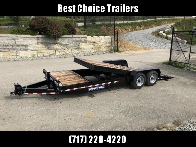 "2021 Sure Trac 7x22' Gravity Tilt Equipment Trailer 16000# GVW * OAK DECK * 8000# AXLE UPGRADE * 18+4' SPLIT DECK * 17.5"" 16-PLY RUBBER * 3 3/8"" BRAKES * 8"" TONGUE/FRAME/BEDFRAME UPGRADE * HD COUPLER * 12K JACK * RUBRAIL/STAKE POCKETS/D-RINGS * SPARE MOUN"