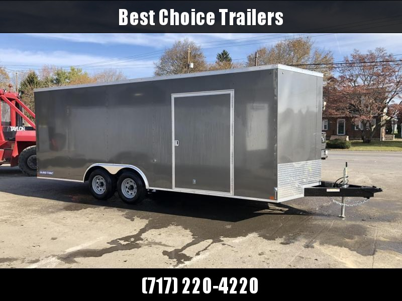 "2020 Sure-Trac 8.5x20' Enclosed Car Hauler Trailer 7000# GVW * WHITE EXTERIOR * V-NOSE * RAMP * .030 SEMI-SCREWLESS EXTERIOR * 16"" O.C. C/M * TUBE STUDS * 48"" RV DOOR * SET BACK JACK * UNDERCOATED * BULLET LED'S"