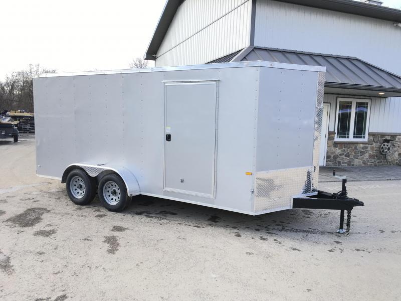 2021 Rock Solid Cargo 7x16' Enclosed Cargo Trailer 7000# GVW * SILVER EXTERIOR * RAMP DOOR * RV DOOR * 16IN O.C. C/M * TUBE STUDS * PLYWOOD WALLS AND FLOOR