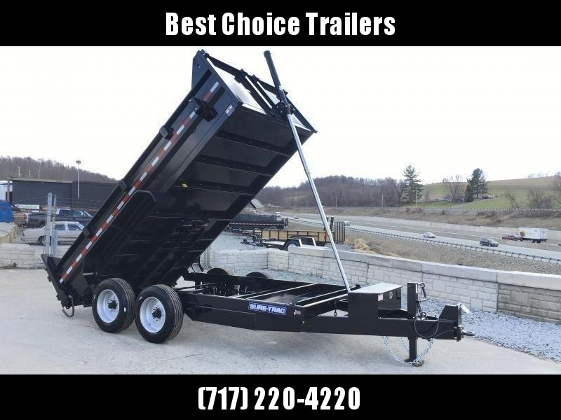 2021 Sure-Trac 7x14' HD Dump Trailer 16000# GVW * 8000# AXLES * TELESCOPIC HOIST * FRONT/REAR BULKHEAD * INTEGRATED KEYWAY * 2' SIDES * UNDERBODY TOOL TRAY * ADJUSTABLE COUPLER * 110V CHARGER * UNDERMOUNT RAMPS * COMBO GATE * 7K DROP LEG JACK * SPARE MOUN