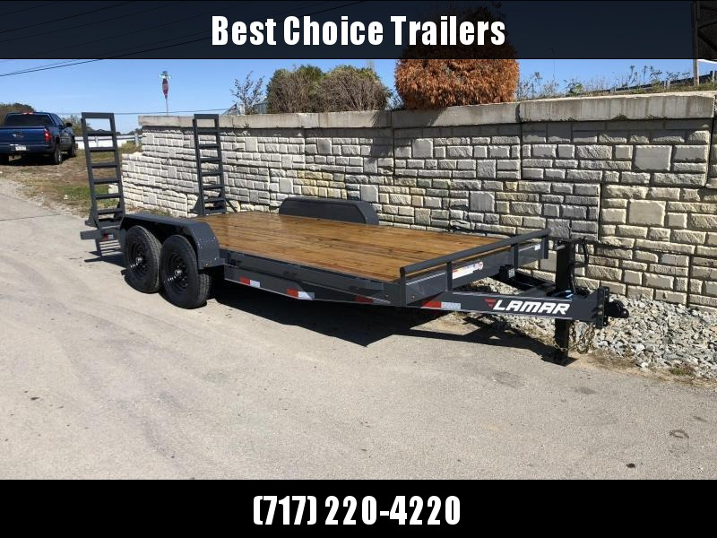 2021 Lamar 7x18' Equipment Trailer 14000# GVW * STAND UP SPRING ASSISTED RAMPS * CHARCOAL POWDERCOAT * RUBRAIL/STAKE POCKETS/PIPE SPOOLS/D-RINGS * REM FENDERS * 12K JACK * CAST COUPLER * COLD WEATHER HARNESS * DIA PLATE DOVETAIL