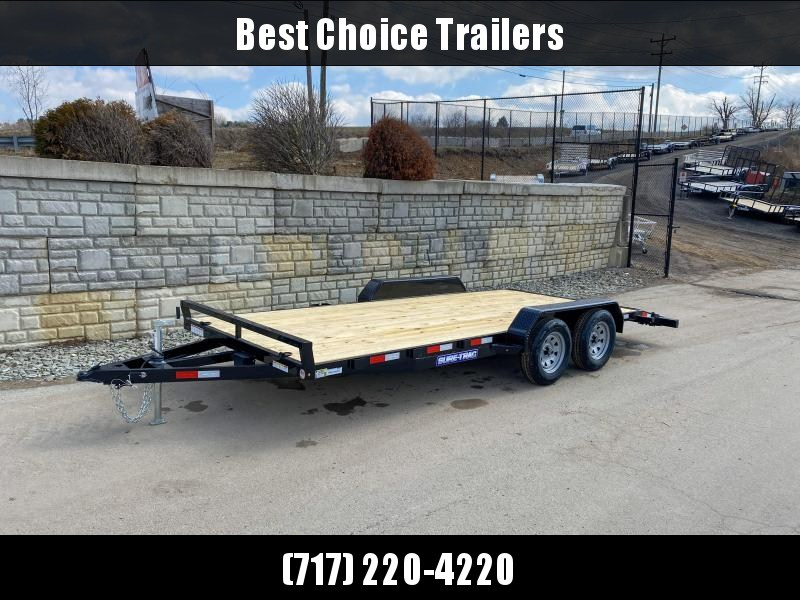 2021 Sure-Trac 7x18 Wood Deck Car Hauler 7000# GVW * REAR SLIDE OUT PUNCH PLATE FINGERJOINTED RAMPS * DIAMOND PLATE FENDERS * SEALED WIRING HARNESS * SET BACK JACK * STAKE POCKETS/D-RINGS * DIAMOND PLATE DOVETAIL