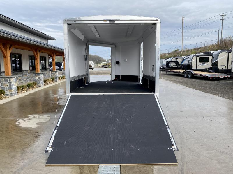 "2021 Neo 8.5x16' NDO Aluminum Enclosed Snowmobile Trailer * VINYL WALLS + CIELING * ALUMINUM WHEELS * +6"" HEIGHT * BLACK+SILVER * D-RINGS * WALL E-TRACK * NUDO FLOOR * LOADING LIGHTS * 12V BATTERY BOX * 110 POWER PACKAGE * ELECTRIC JACK"