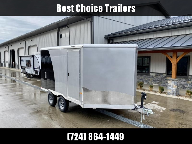 """2021 Neo 8.5x16' NDO Aluminum Enclosed Snowmobile Trailer * VINYL WALLS + CIELING * ALUMINUM WHEELS * +6"""" HEIGHT * BLACK+SILVER * D-RINGS * WALL E-TRACK * NUDO FLOOR * LOADING LIGHTS * 12V BATTERY BOX * 110 POWER PACKAGE * ELECTRIC JACK"""