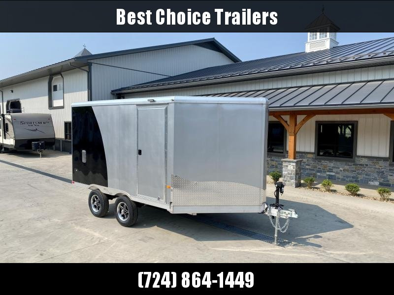 2021 Neo 8.5x16' NDO Aluminum Enclosed Snowmobile Trailer * VINYL WALLS + CIELING * ALUMINUM WHEELS * BLACK+SILVER * D-RINGS * WALL E-TRACK * NUDO FLOOR * LOADING LIGHTS * 12V BATTERY BOX * 110 POWER PACKAGE * ELECTRIC JACK