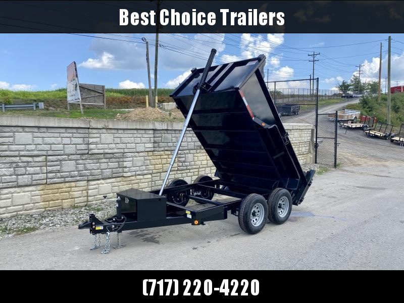 2021 QSA 6x12' Low Profile SD Dump Trailer 9850# GVW * TELESCOPIC HOIST * 2' HIGH SIDES * OVERSIZE TOOLBOX * DROP LEG JACK * FRONT/REAR BULKHEAD