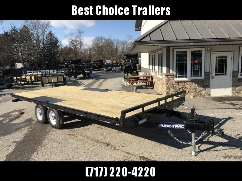 USED 2016 Sure-Trac 102x20 Flatbed Deckover Trailer 9900# GVW * 8' SLIDE IN PUNCH PLATE RAMPS * TUBE SIDE RAIL + CROSSMEMBERS * RUBRAIL/STAKE POCKETS/D-RINGS * SPARE MOUNT * ADJUSTABLE COUPLER