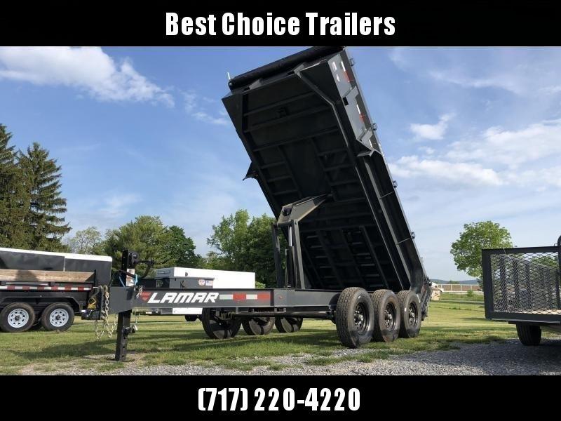 "2021 Lamar 7x16' Dump Trailer 21000# GVW * OVERSIZE 6X21.5 11-TON SCISSOR HOIST * 7GA FLOOR * JACKSTANDS * TARP KIT * CHARCOAL * RIGID RAILS * NESTLED I-BEAM FRAME 28"" H * 12"" O.C. C/M * 3-WAY GATE * HD COUPLER"