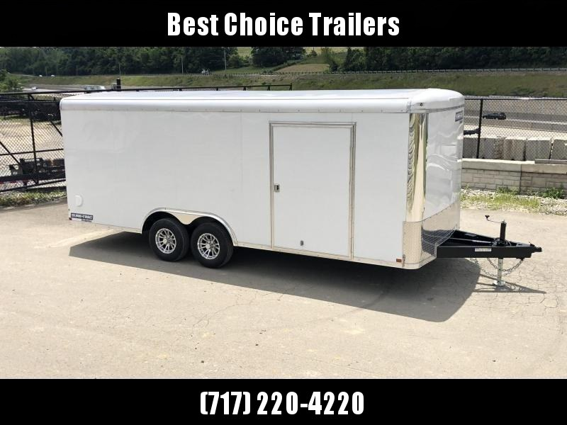 "2021 Sure Trac 8.5x24' STRCH Commercial Round Top Enclosed Car Hauler Trailer 9900# * WHITE * TORSION * BACKUP LIGHTS * SCREWLESS * 1 PIECE ROOF * PLYWOOD * TUBE STUDS * ALUMINUM WHEELS * 48"" SD * 7K JACK"